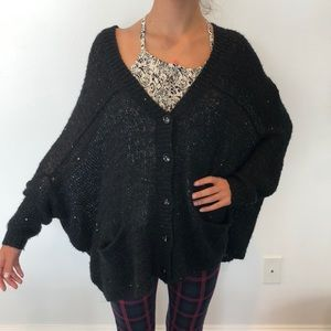 Sweaters - Black off shoulder loose sweater with sequins
